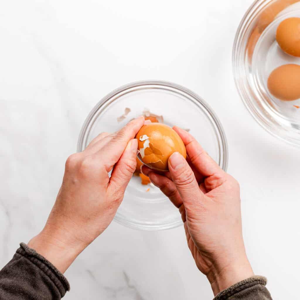 peeling an egg.